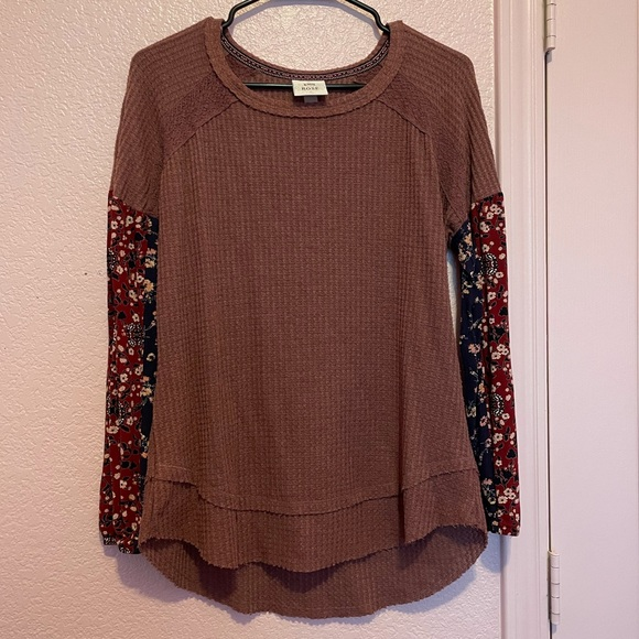 Knox Rose Maroon Sweater with Floral Sleeves
